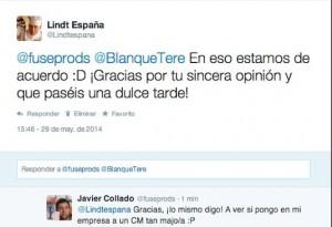 Twitter Lindt España. Interacción