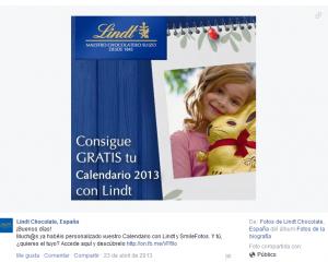 Facebook Lindt Hello. Promoción
