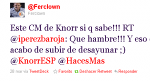 Twitter Knorr España. Valoración CM