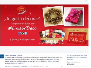 Facebook Lindt España. Campaña Navidad